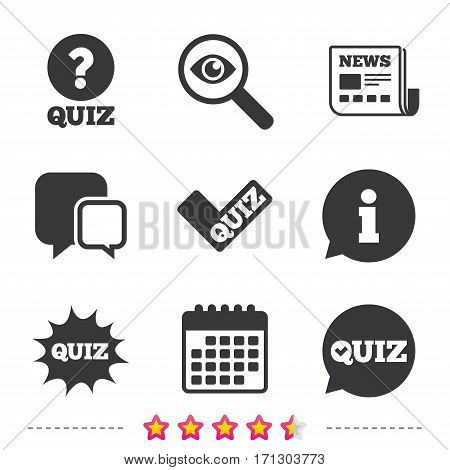 Quiz icons. Speech bubble with check mark symbol. Explosion boom sign. Newspaper, information and calendar icons. Investigate magnifier, chat symbol. Vector