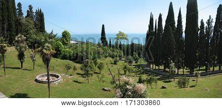 Panoramic views of the Black sea shore. New Athos, Abkhazia