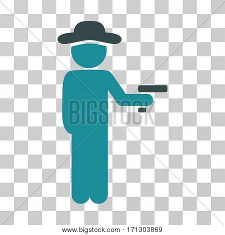 Gentleman Robber icon. Vector illustration style is flat iconic bicolor symbol soft blue colors transparent background. Designed for web and software interfaces.