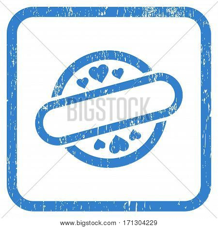 Love Stamp Seal rubber watermark. Vector pictogram symbol inside rounded rectangular frame with grunge design and scratched texture. Stamp seal illustration.