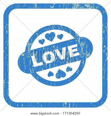 Love Stamp Seal rubber watermark. Vector pictogram symbol inside rounded rectangular frame with grunge design and unclean texture. Stamp seal illustration.