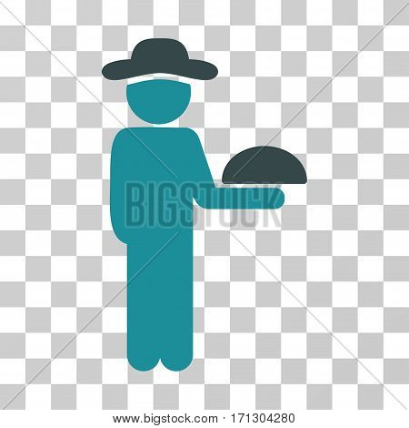 Gentleman Waiter icon. Vector illustration style is flat iconic bicolor symbol soft blue colors transparent background. Designed for web and software interfaces.