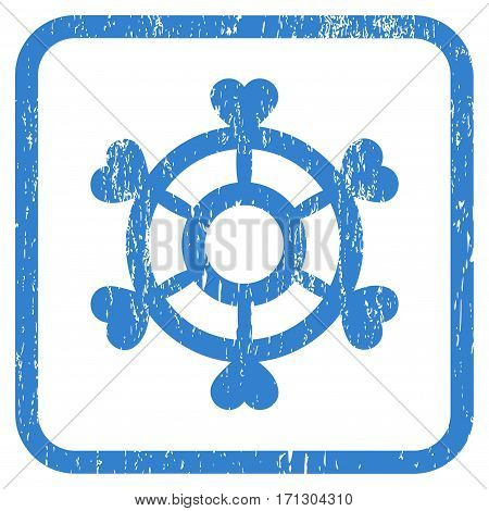 Lovely Boat Steering Wheel rubber watermark. Vector icon symbol inside rounded rectangle with grunge design and dust texture. Stamp seal illustration. Unclean cobalt ink sticker on a white background.