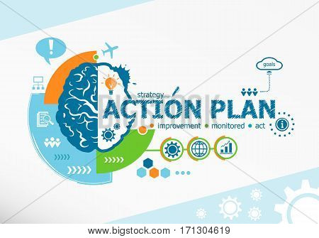 Action Plan Related Words And Brain Concept. Infographic Business.