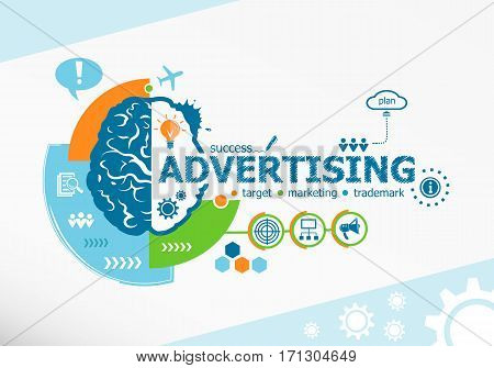 Advertising Related Words And Brain Concept. Infographic Business.