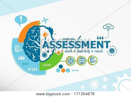 Assessment Related Words And Brain Concept. Infographic Business.