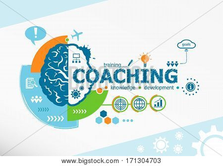 Coaching Related Words And Brain Concept. Infographic Business.
