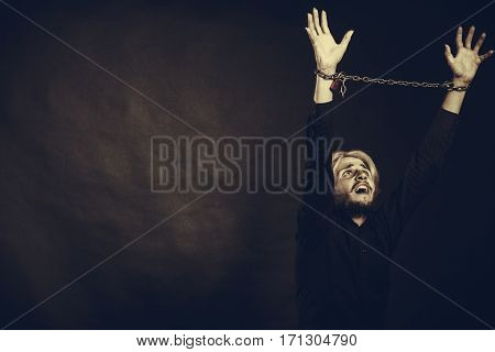 Furious Man With Chained Hands, No Freedom
