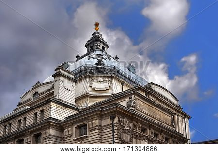 Details of a historic building in Central London, UK.