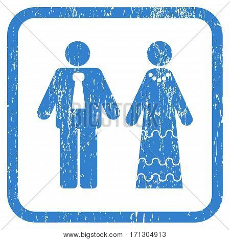 Newlyweds rubber watermark. Vector pictogram symbol inside rounded rectangle with grunge design and dirty texture. Stamp seal illustration. Unclean cobalt ink emblem on a white background.