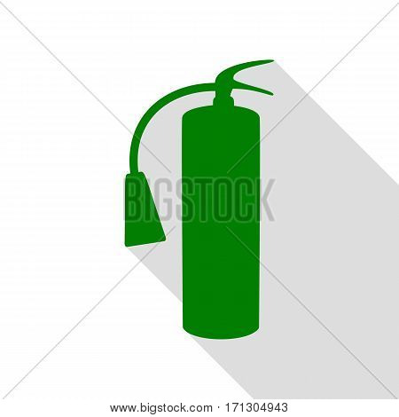 Fire extinguisher sign. Green icon with flat style shadow path.