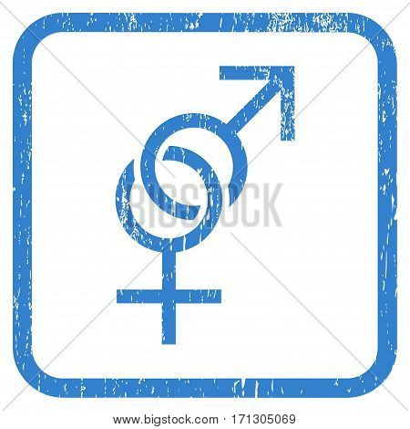 Sex Symbol rubber watermark. Vector pictogram symbol inside rounded rectangular frame with grunge design and unclean texture. Stamp seal illustration. Unclean cobalt ink emblem on a white background.