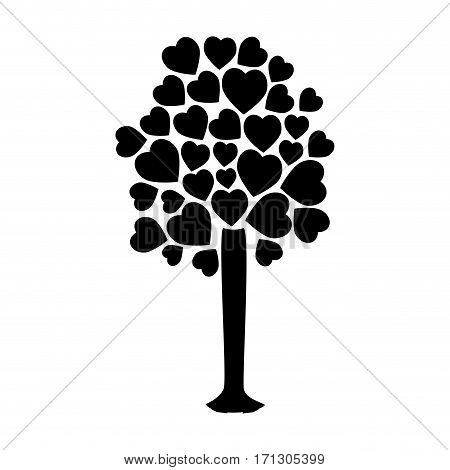 silhouette tree with leafy branches in heart shape form vector illustration