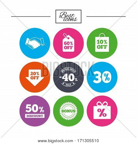 Sale discounts icon. Shopping, handshake and bonus signs. 20, 30, 40 and 50 percent off. Special offer symbols. Classic simple flat icons. Vector