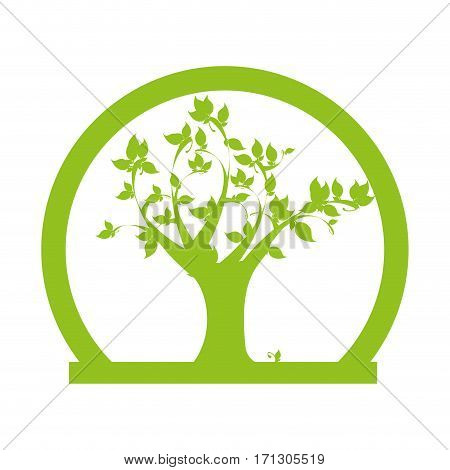 half circular border with leafy tree plant vector illustration