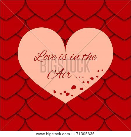 Greeting Card for the Loved Ones with Background of Hearts as an Fish Scale and Lettering with Rose Petals in the Center. Can be Used as an Template, Book Cover in Web Design. Vector EPS 10.