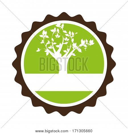 circular stamp with leafy tree plant vector illustration
