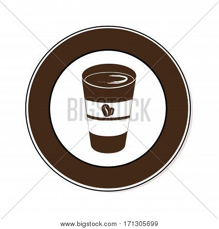 circular border with glass disposable for hot drinks with lid vector illustration