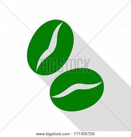Coffee beans sign. Green icon with flat style shadow path.