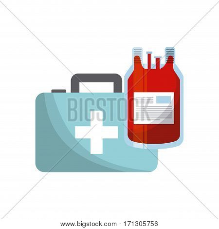 first aid briefcase and blood bag over white background. colorful design. vector illustration