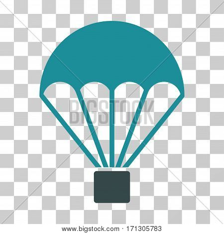 Parachute icon. Vector illustration style is flat iconic bicolor symbol soft blue colors transparent background. Designed for web and software interfaces.