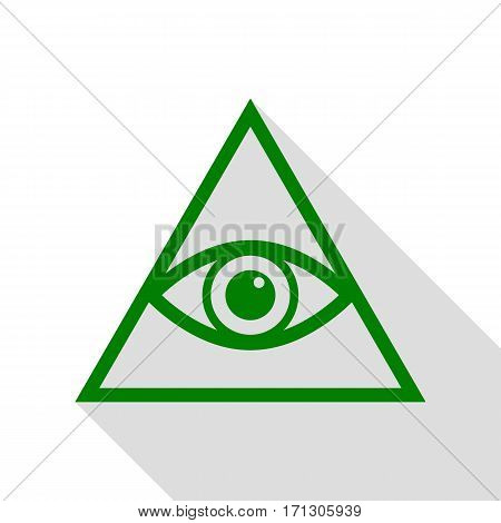 All seeing eye pyramid symbol. Freemason and spiritual. Green icon with flat style shadow path.