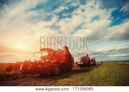 tractors working in the field Carpathians. Ukraine Europe