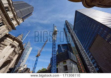 The construction of skyscrapers in the heart of London. United Kingdom.
