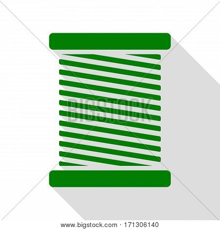 Thread sign illustration. Green icon with flat style shadow path.