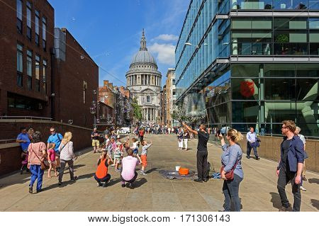 LONDON/ UK - SEPTEMBER 1. View of the Cathedral Church of St Paul the Apostle from Peter's Hill Street on September 1, 2016. London, UK