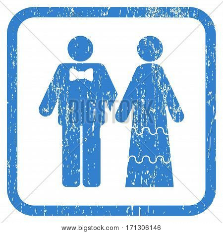 Wedding Persons rubber watermark. Vector pictogram symbol inside rounded rectangle with grunge design and unclean texture. Stamp seal illustration. Unclean cobalt ink sign on a white background.