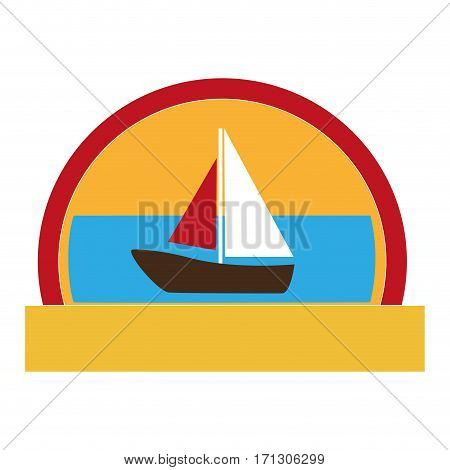 half circular border with colorful landscape with yacht vector illustration