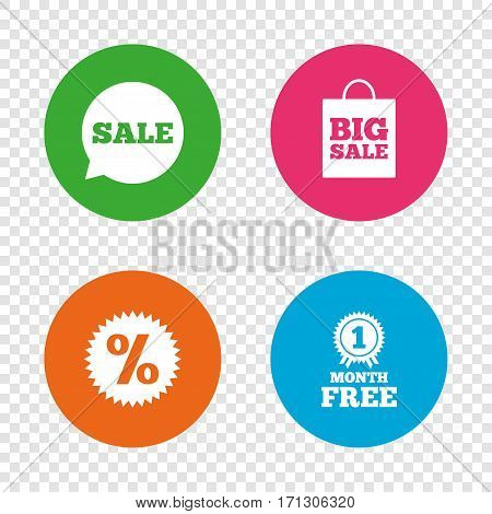 Sale speech bubble icon. Discount star symbol. Big sale shopping bag sign. First month free medal. Round buttons on transparent background. Vector