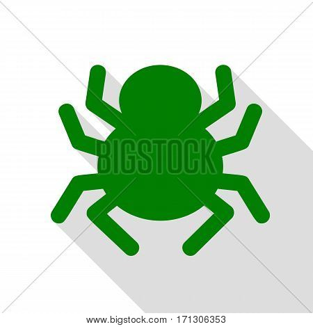 Spider sign illustration. Green icon with flat style shadow path.
