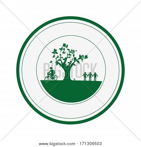 circular border with garden and leafy tree plant with person pictogram vector illustration