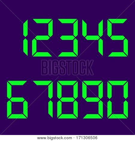 Electronic numbers green. Blue background . Led lights. Vector illustration