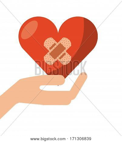 hand holding a heart with adhesive bandages over white background. donation blood concept. colorful design. vector illustration