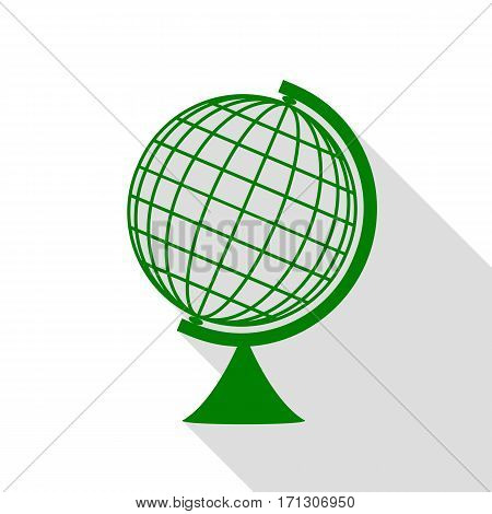 Earth Globe sign. Green icon with flat style shadow path.