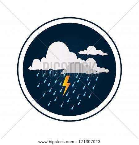 circular border with background with clouds with rain and thunder vector illustration