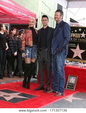 LOS ANGELES - FEB 10:  Gwen Stefani, Adam Levine, Blake Shelton at the Adam Levine Hollywood Walk of Fame Star Ceremony at Musicians Institute on February 10, 2017 in Los Angeles, CA