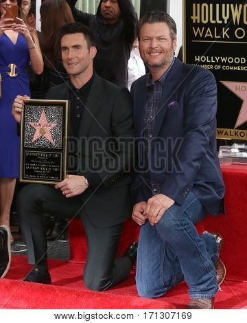LOS ANGELES - FEB 10:  Adam Levine, Blake Shelton at the Adam Levine Hollywood Walk of Fame Star Ceremony at Musicians Institute on February 10, 2017 in Los Angeles, CA