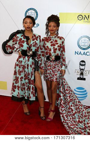 LOS ANGELES - FEB 11:  Chloe X Halle, Chloe Bailey, Halle Bailey at the 48th NAACP Image Awards Arrivals at Pasadena Conference Center on February 11, 2017 in Pasadena, CA