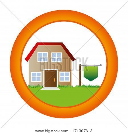 circular button with house two floor inside and plaque in pole vector illustration