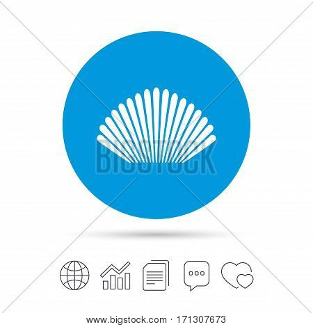 Sea shell sign icon. Conch symbol. Travel icon. Copy files, chat speech bubble and chart web icons. Vector