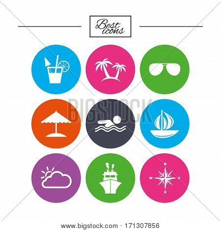 Cruise trip, ship and yacht icons. Travel, cocktails and palm trees signs. Sunglasses, windrose and swimming symbols. Classic simple flat icons. Vector
