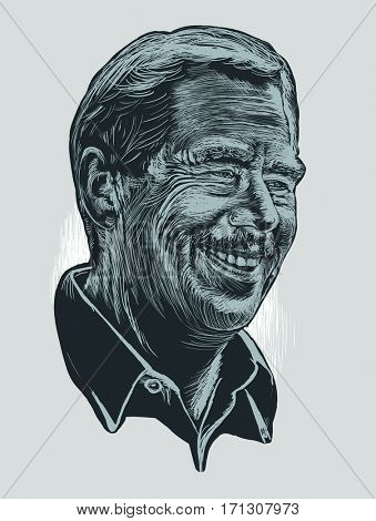 February 12, 2017:  Drawing of Vaclav Havel, the ex-president of the Czech Republic, the leader of  the Velvet Revolution  in Czechoslovakia in 1989, writer, philosopher. Grey and blue tones.