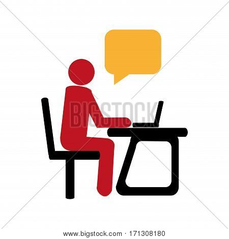 silhouette with manager in office and dialog callout box vector illustration