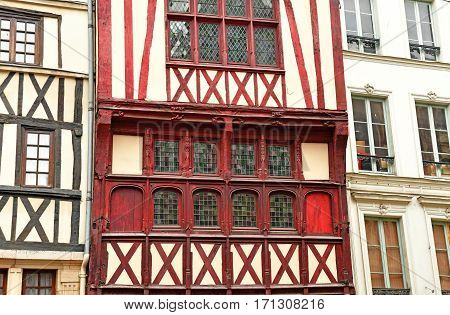 Rouen France - november 26 2016 : Gros Horloge street in the historical city center in winter