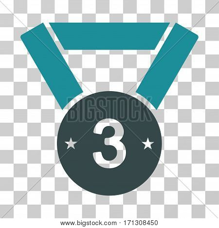 Third Medal icon. Vector illustration style is flat iconic bicolor symbol soft blue colors transparent background. Designed for web and software interfaces.