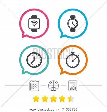 Smart watch wi-fi icons. Mechanical clock time, Stopwatch timer symbols. Wrist digital watch sign. Calendar, internet globe and report linear icons. Star vote ranking. Vector